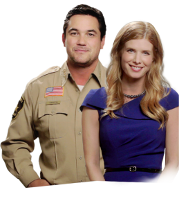 "Jud Tylor and Dean Cain in this wonderful holiday movie ""Defending Santa"""